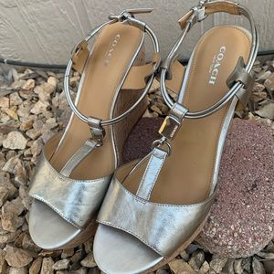 Coach Linden Silver Canvas Tan Leather Cork Wedge